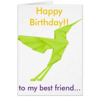 Green Bird Happy Birthday to my best friend Greeting Card