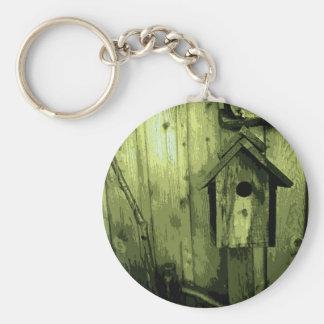 Green Bird House Basic Round Button Keychain