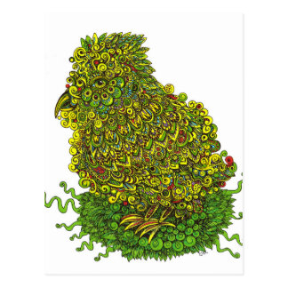 Green Bird In A Nest Postcard