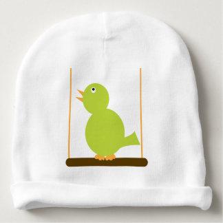 Green Bird on a Perch Baby Beanie