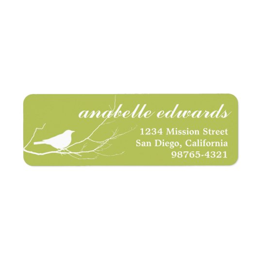 Green bird on branch modern custom return address