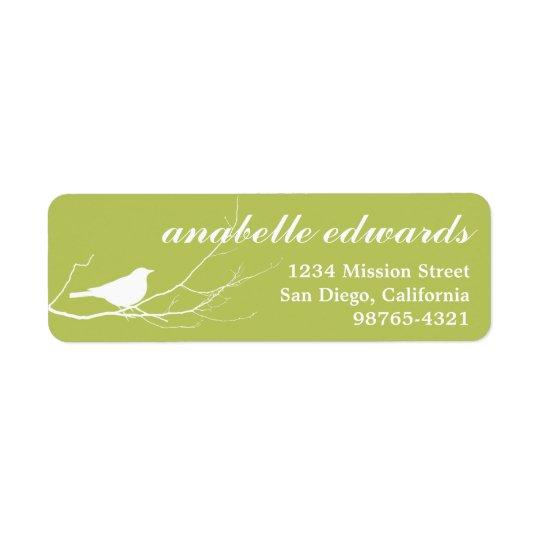 Green bird on branch modern custom return address return address label