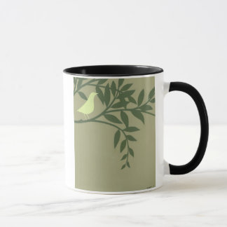Green Bird Perched on Green Branch Mug