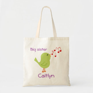 Green Bird Personalized Big Sister Tote