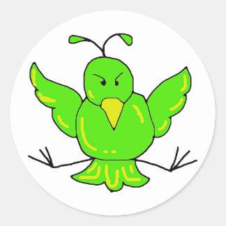 green bird round sticker