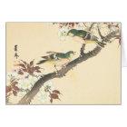 Green Birds and Cherry Imao Keinen oriental  art Card