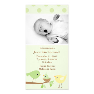Green Birds Birth Announcement Photo Greeting Card