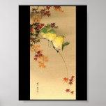 Green Birds on Maple Tree, Japanese Art c.1800s Poster