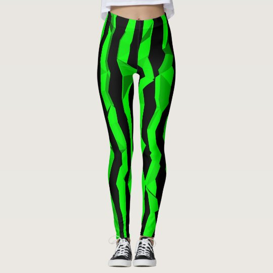 Green black abstract striped leggings