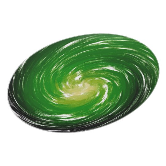 Green Black Abstract Swirl Pattern Plate