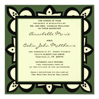 "Green, Black, and Beige Wedding  Invitation 5.25"" Square Invitation Card"