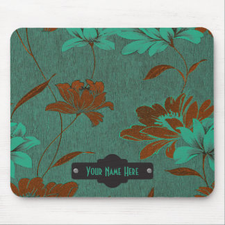Green, Black and Rust Floral Personalized Mouse Pad