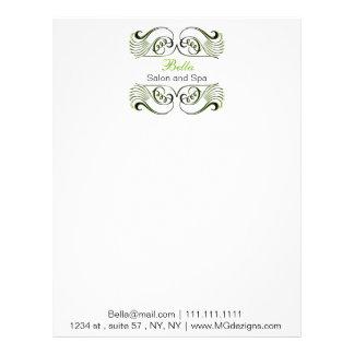 green  black and white Chic Business letterheads Custom Letterhead