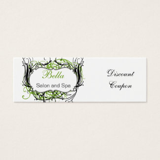green,black and white Chic discount coupon Mini Business Card