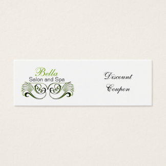 green ,black and white Chic discount coupon Mini Business Card