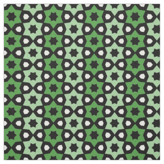 Green Black and White Stars Stripe Pattern Print Fabric