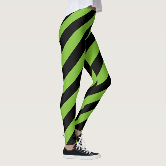 Green Black Big Diagonal Stripe Pattern Leggings