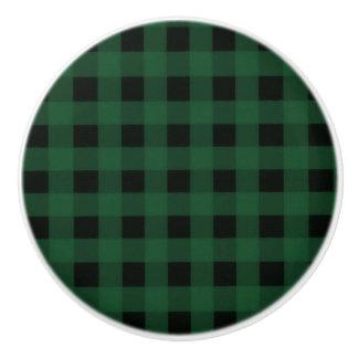 Green Black Buffalo Checker Plaid Country Rustic Ceramic Knob