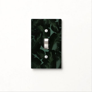 Green & Black Chic Tropical Leaves Light Switch Cover