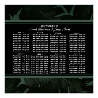 Green & Black Chic Tropical Leaves Seating Chart