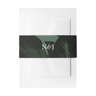 Green & Black Chic Tropical Leaves Wedding Invitation Belly Band