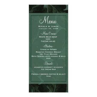 Green & Black Chic Tropical Leaves Wedding Menu