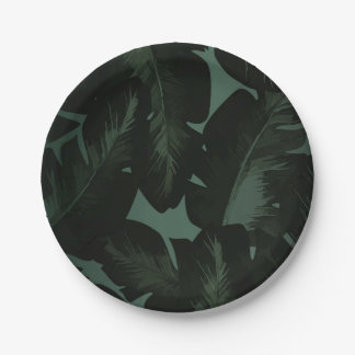 Green & Black Chic Tropical Leaves Wedding Paper Plate