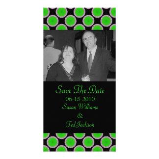 green black circles photo card