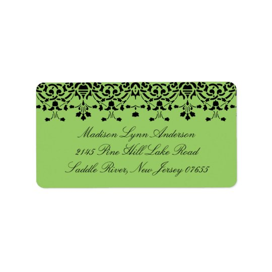 Green/Black Damask Lace Return Address Label