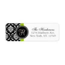 Green Black Damask Monogram Wedding Address Label