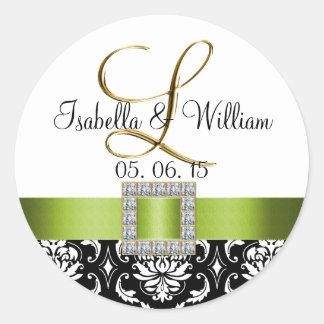 Green Black Damask Wedding Sticker | Initial L