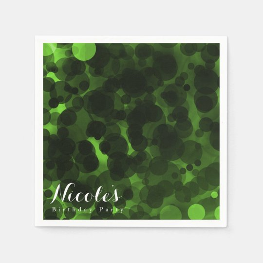 Green & Black Dots Modern Chic Party Custom Chic Disposable Napkin
