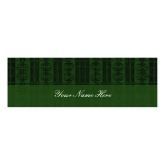 Green Black Elegant Pattern Double-Sided Mini Business Cards (Pack Of 20)