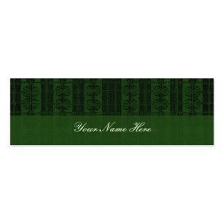 Green Black Elegant Pattern Mini Business Card