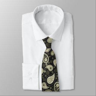 Green black elegant vintage paisley pattern tie