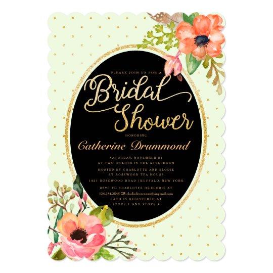 Green Black Floral Chic Bridal Shower Card