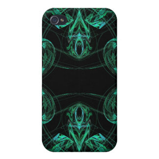 Green & Black Fractal 4  Cover For iPhone 4