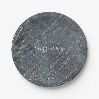 Green Black Grey Modern Marble Designer Chic Party Paper Plate