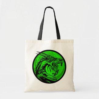 Green black grunge dragon circle tote bag