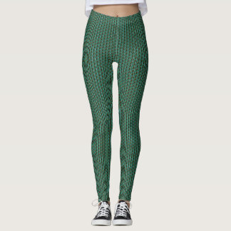 Green,Black Knit Design Leggings