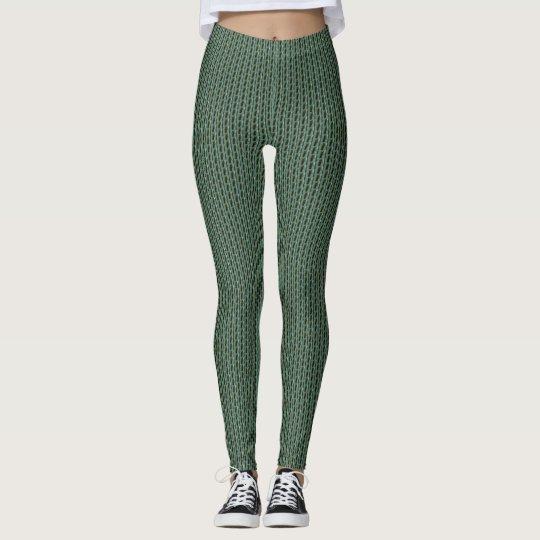Green,Black Knit Design Leggings