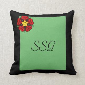 Green & Black  Monogram Pillow