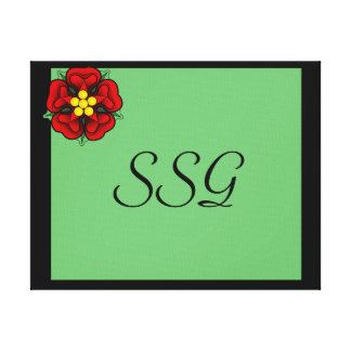 Green & Black  Monogram Stretched Canvas Print