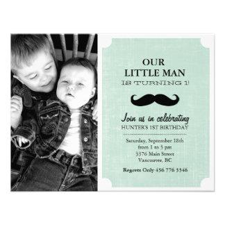 Green & Black Mustache Photo First Birthday Invite