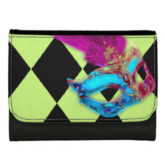 Green Black Pink Blue Venetian Mask Wallet