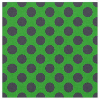 Green & Black Polka Dot Fabric