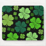 Green Black Saint Patrick Day Four Leaf Clovers Mouse Pad