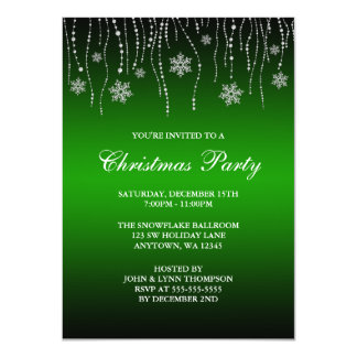 "Green Black Sparkle Snowflakes Christmas Party 4.5"" X 6.25"" Invitation Card"