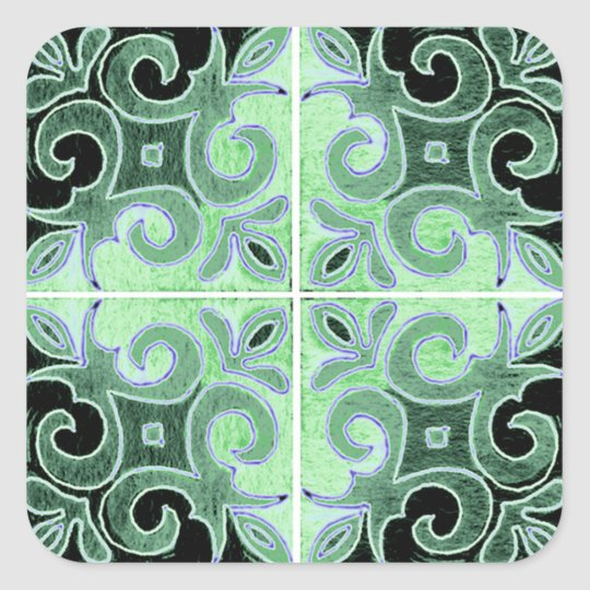 Green Black Swirl Inspired by Portuguese Azulejos Square Sticker
