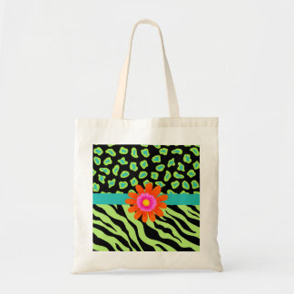 Green, Black & Teal Zebra & Cheetah Orange Flower Tote Bag